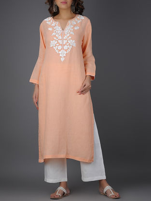 Peach Thread-embroidered Linen Kurta with Beads