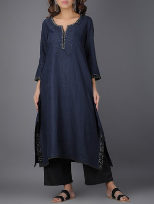 Navy Blue Asymmetrical Linen Kurta with Beads and Sequins