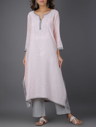 Pink Asymmetrical Linen Kurta with Beads and Sequins