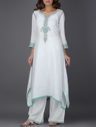 Ivory Embroidered Asymmetrical Linen Kurta with Sequins