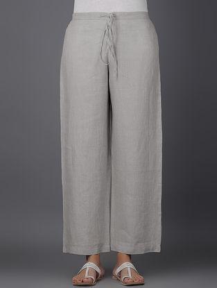 Grey Elasticated Tie-up Waist Linen Pants