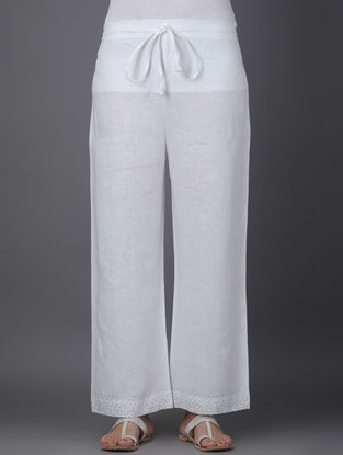 Ivory Elasticated Tie-up Waist Linen Pants with Mukaish