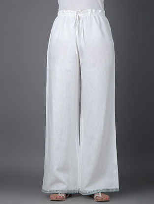 Ivory Tie-up Waist Linen Pants with Embroidered Hem