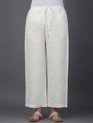 Ivory Elasticated Tie-up Waist Linen Pants
