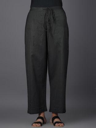 Black Elasticated Tie-up Waist Linen Pants