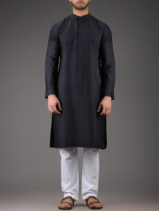 Navy Mandarin Collar Full Sleeve Viscose Kurta