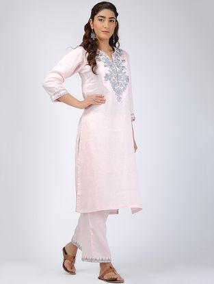 Pink Thread-embroidered Linen Kurta