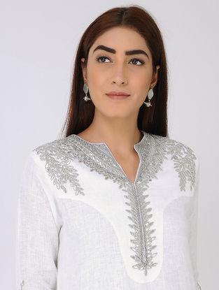 White Linen Kurta with Gota Work