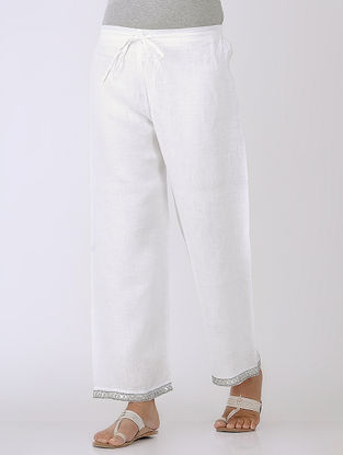 White Tie-up Elasticated Waist Linen Pants with Gota Work