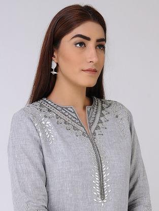 Grey Linen Kurta with Gota Work
