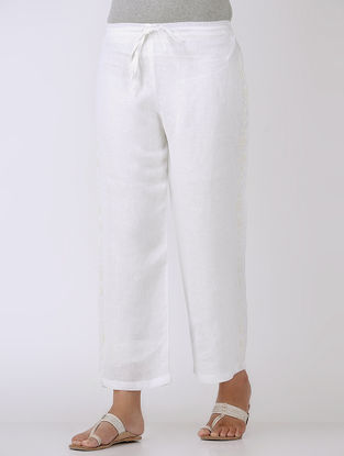 White Tie-up Elasticated Waist Embroidered Linen Pants