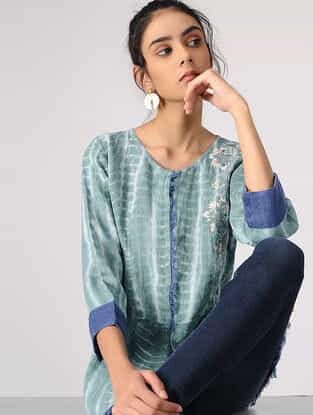 Aqua Tie-Dye Embroidered Linen Jacket