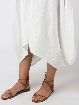 White Elasticated Waist Paneled Linen Skirt
