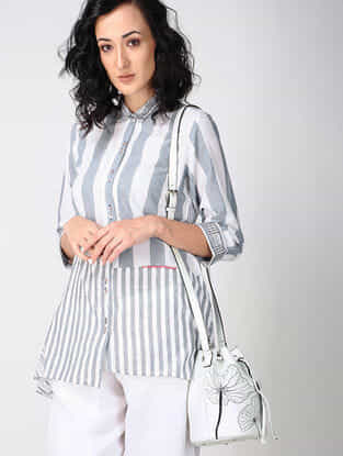 White-Grey Embroidered Cotton Shirt