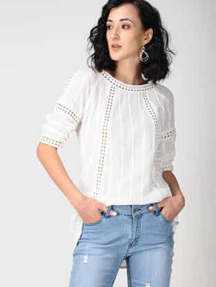 Ivory Cotton Top with Lace Detail