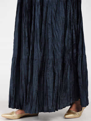 Navy Silk Skirt