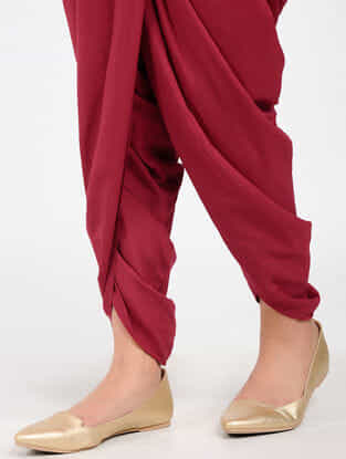 Red Rayon Dhoti Pants