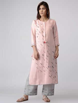 Pink Linen Kurta with Zardozi Embroidery