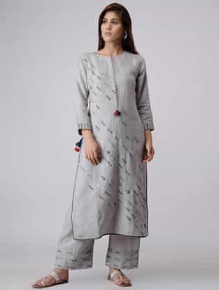 Grey Linen Kurta with Zardozi Embroidery