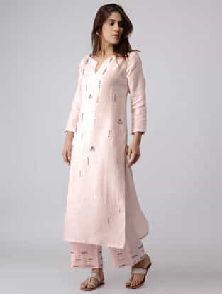 Pink Linen Kurta with Zardozi Embroidery
