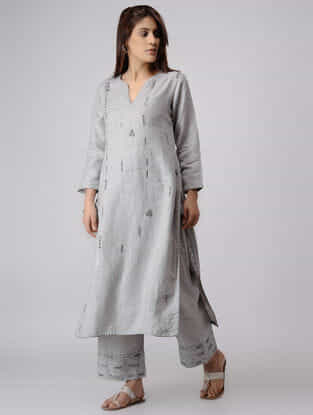 Grey Linen Kurta with Zardozi Embroidery