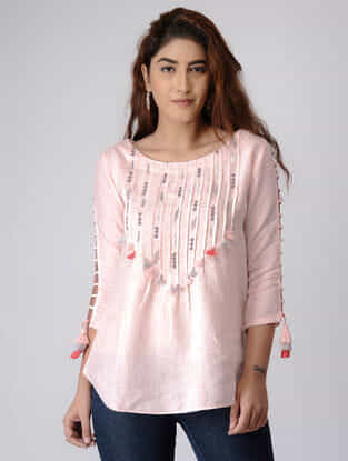 Pink Linen Top with Zardozi Embroidery
