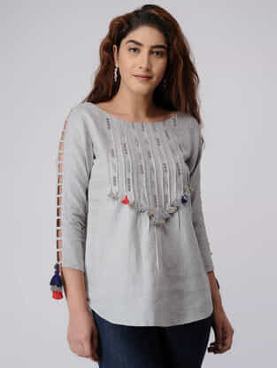 Grey Linen Top with Zardozi Embroidery