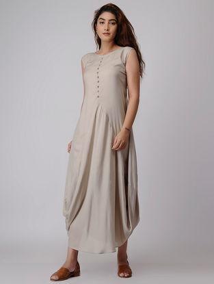 Beige Viscose Dress with Asymmetrical Hem