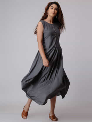 Charcoal Viscose Dress with Asymmetrical Hem