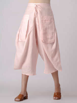 Pink Elasticated Waist Linen Pants