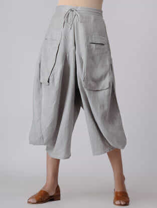 Grey Elasticated Waist Linen Pants