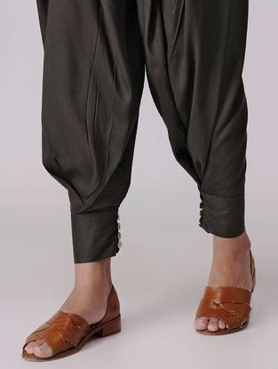 Brown Elasticated Waist Viscose Pants