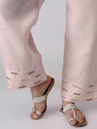 Pink Elasticated Waist Linen Pants with Zardozi Embroidery