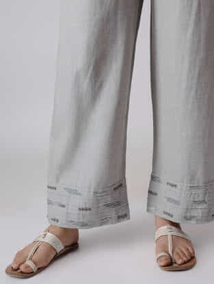 Grey Elasticated Waist Linen Pants with Zardozi Embroidery
