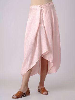 Pink Elasticated Waist Linen Skirt with Asymmetrical Hem
