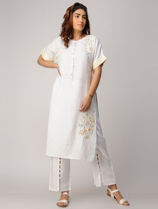 White Embroidered Linen Kurta