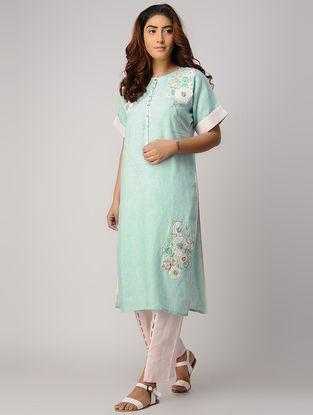 Turquoise Embroidered Linen Kurta