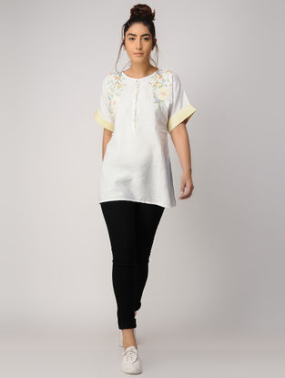 White Embroidered Linen Tunic