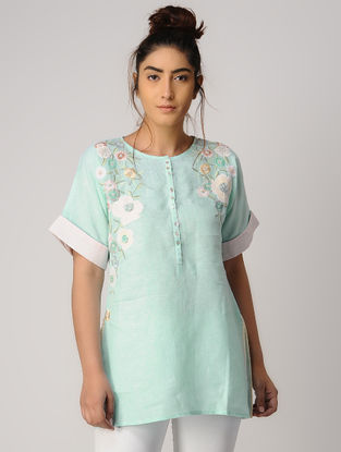 Turquoise Embroidered Linen Tunic