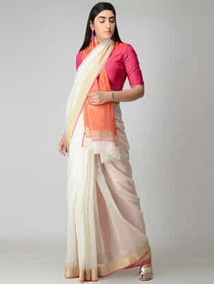 Ivory-Orange Chanderi Saree with Zari