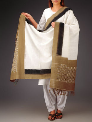 White-Brown-Black Ikat Missing Stripes Cotton Dupatta