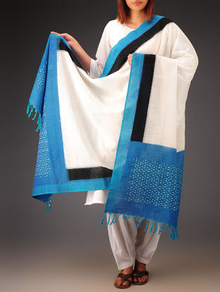 White-Blue-Black Ikat Missing Stripes Cotton Dupatta