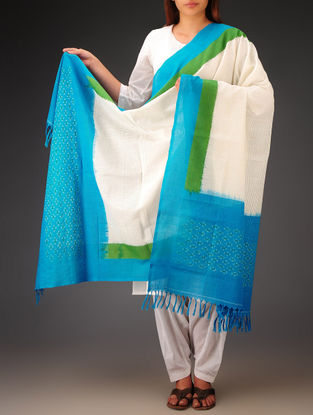 White-Green-Sky Blue Ikat Missing Stripes Cotton Dupatta