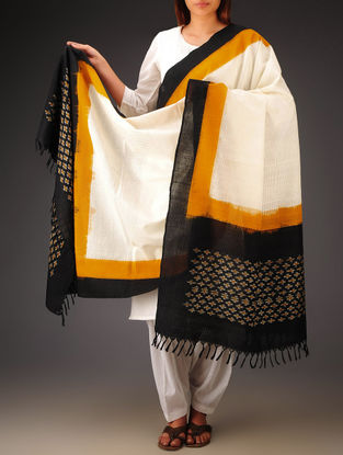 White-Black-Mustard Ikat Missing Stripes Cotton Dupatta