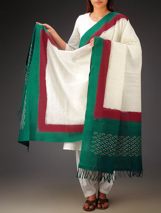 White-Green-Red Ikat Missing Stripes Cotton Dupatta
