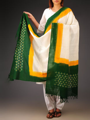 White-Green-Mustard Ikat Missing Stripes Cotton Dupatta
