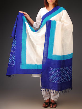 White-Blue Ikat Missing Stripes Cotton Dupatta