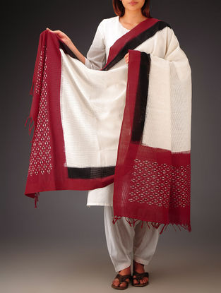 White-Red-Black Ikat Missing Stripes Cotton Dupatta