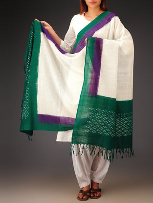 White-Green-Purple Ikat Missing Stripes Cotton Dupatta
