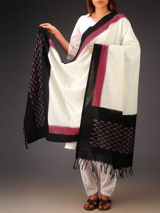 White-Black-Pink Ikat Missing Stripes Cotton Dupatta